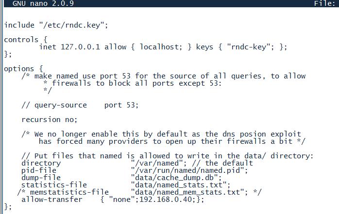 modificar archivo named.conf